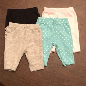 Set of 4 Baby Girls Leggings Size NB